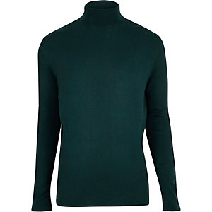 Teal green roll neck long sleeve jumper