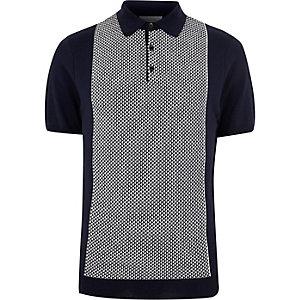 Navy geometric polo shirt