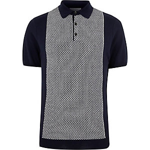 Navy geometric polo shirt