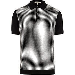 Black houndstooth polo shirt