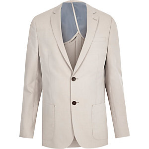 Ecru slim fit blazer