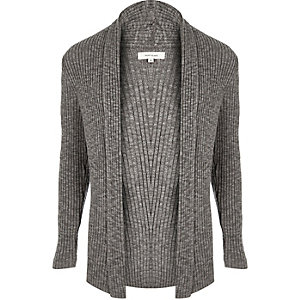 Dark grey ribbed cardigan