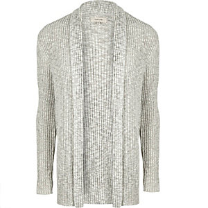 Ecru grey ribbed cardigan