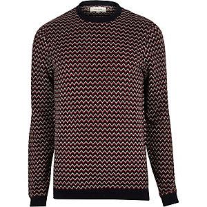 Dark red zig zag knitted jumper