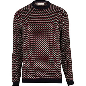 Dark red zig zag knitted sweater