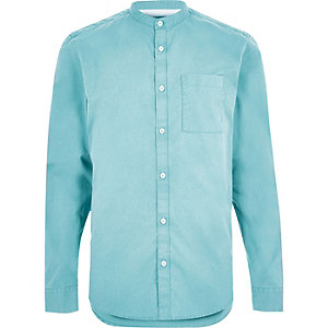 Washed green twill grandad shirt