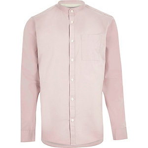 Washed pink twill grandad shirt