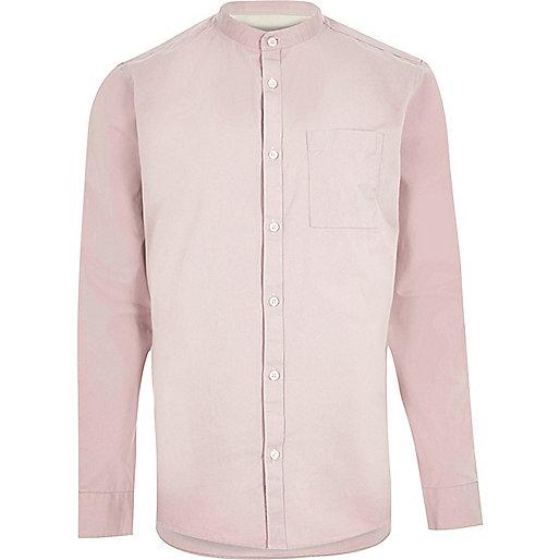 Chemise en sergé rose délavé style grand-père