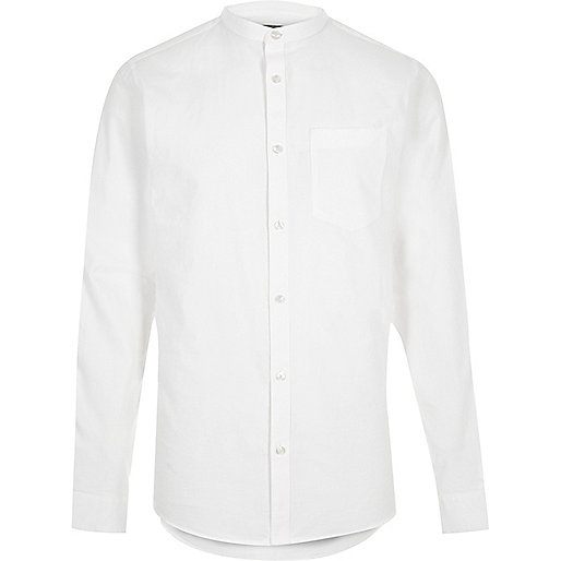 White casual Oxford grandad shirt