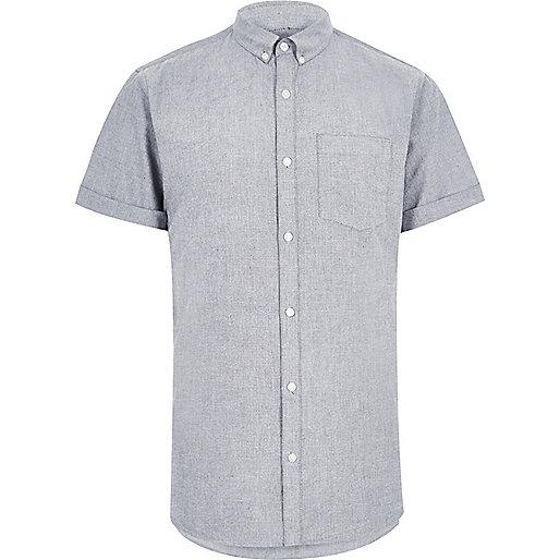 Graues, kurzärmliges Oxford-Hemd
