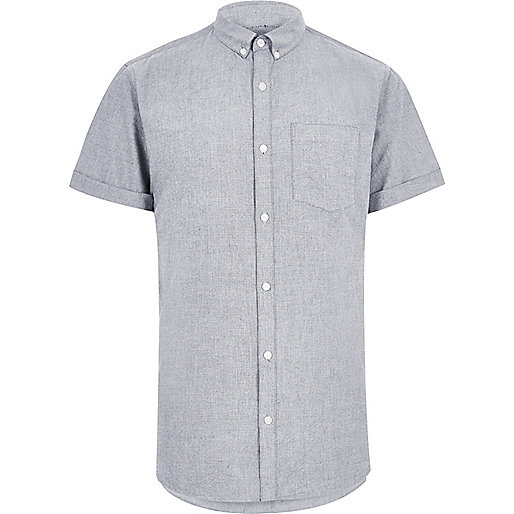 Grey short sleeve Oxford shirt