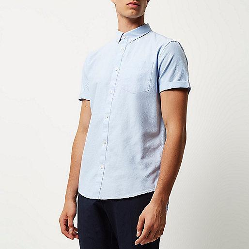 Light blue casual short sleeve Oxford shirt