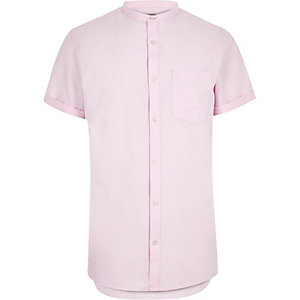 Light pink short sleeve grandad shirt