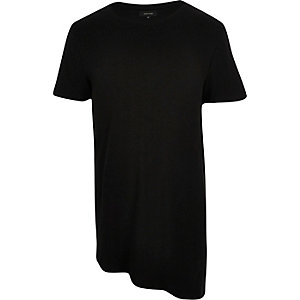 Black ribbed asymmetric t-shirt
