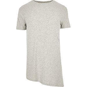 Grey crew neck asymmetric t-shirt
