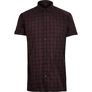 Burgundy check slim fit shirt