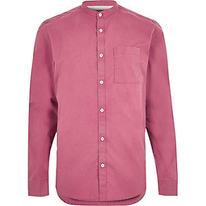 Washed red twill grandad shirt