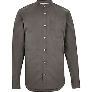 Washed grey twill grandad shirt