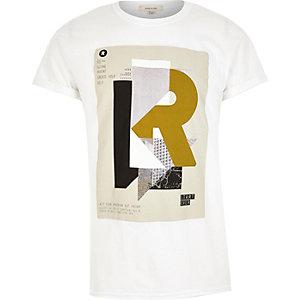 White font print t-shirt
