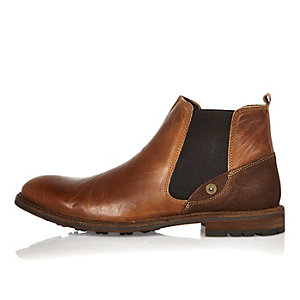 Brown leather cleated sole Chelsea boots