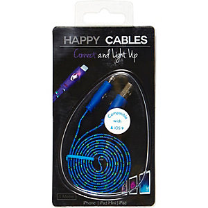 Blue Happy Cables smartphone USB charger