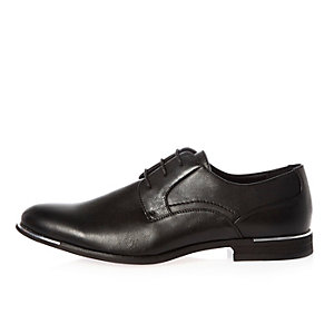Black silver tipping lace-up shoes