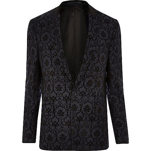 Navy pattern slim fit blazer