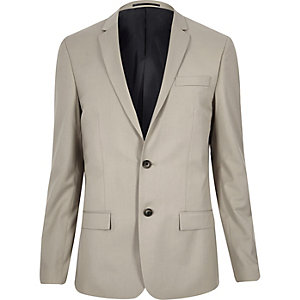 Ecru skinny suit jacket
