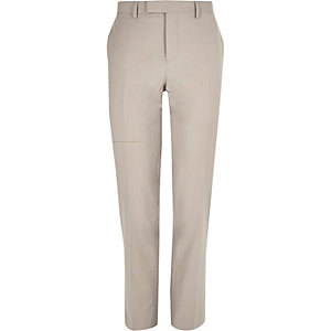 Ecru slim fit suit trousers
