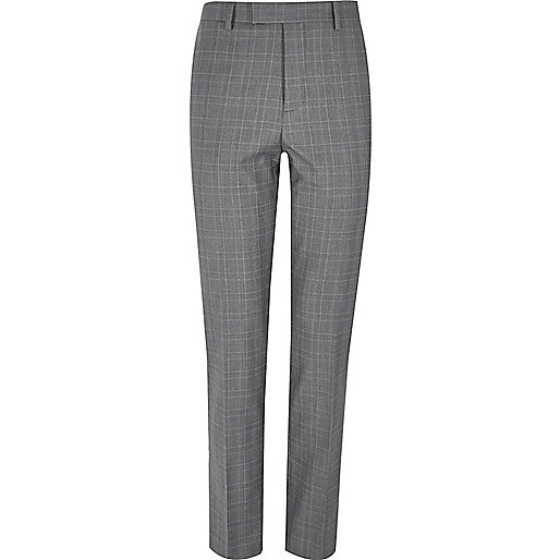 Grey checked slim fit suit pants