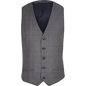 Blue checked vest