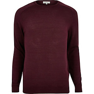 Dark red crew neck sweater