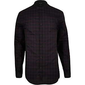 Dark purple check grandad slim fit shirt