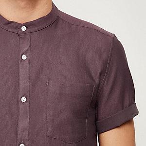 Red waffle short sleeve grandad shirt