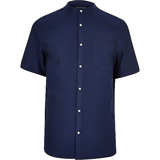 Blue waffle short sleeve grandad shirt short sleeve for Short sleeve grandad shirt