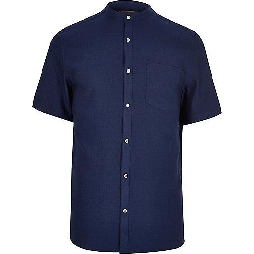 Blaues, kurzärmliges Grandad-Hemd