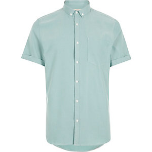 Green waffle short sleeve shirt