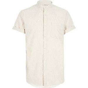 Ecru waffle short sleeve grandad shirt