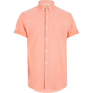 Orange waffle short sleeve shirt