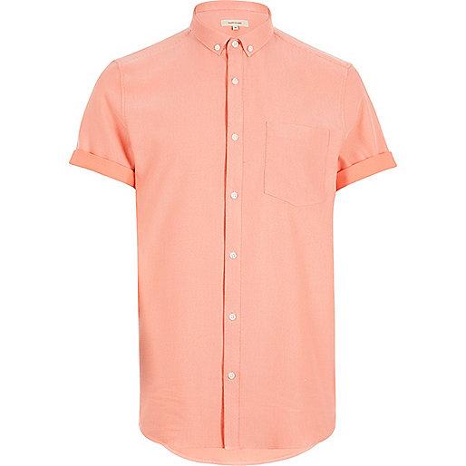 Chemise orange gaufrée à manches courtes