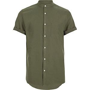 Green waffle short sleeve grandad shirt
