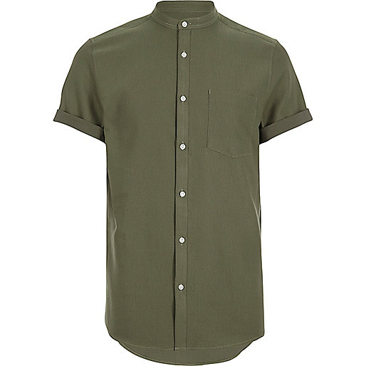 Green waffle short sleeve grandad shirt shirts sale men for Short sleeve grandad shirt