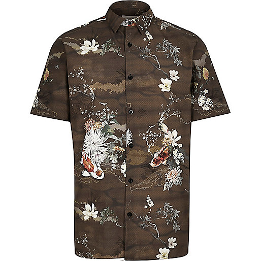 Brown koi print shirt