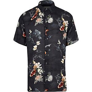 Navy koi print shirt