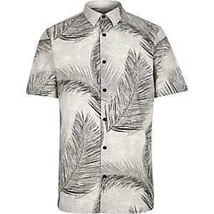 Ecru leaf print shirt