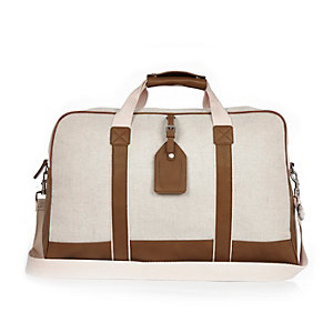 Ecru canvas holdall bag