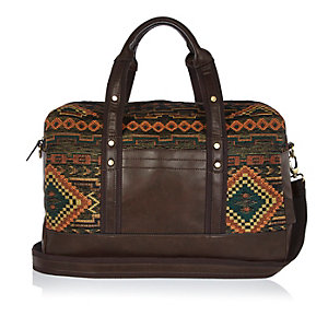 Dark green Aztec embroidered holdall bag