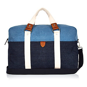Blue denim holdall bag