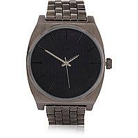 Graue, rechteckige Uhr