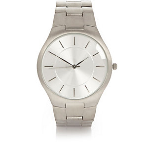 Silver tone slimline watch